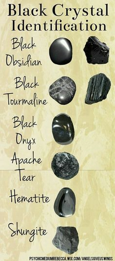 Different types of black crystals