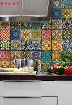 Bleucoin No 21 Mexican Talavera Tile / Wall / Stair / Floor Vinyl Stickers, Removable Kitchen Bathroom Peel & Stick Self Adhesive Decal - Decoration For Home Rental Kitchen, New Kitchen, Boho Kitchen, Ugly Kitchen, Kitchen Layout, Kitchen Cooler, Hippie Kitchen, Kitchen Post, Kitchen Industrial