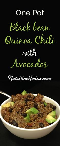 One-Pot Black Bean Quinoa Chili with Avocado | Only 255 Calories | Easy to make & satisfying | < 30 minutes for #vegetarian #MeatlessMonday meal | For MORE RECIPES, fitness & nutrition tips please SIGN UP for our FREE NEWSLETTER www.NutritionTwins.com