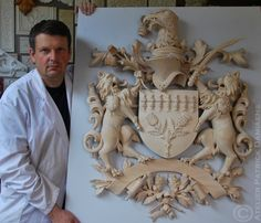 Family Coat of arms with shieldholders | Family Coat of Arms carved in wood | Family Crests custom carved | Wooden crest , Heraldic and Heraldry | Classical Traditional woodcarving | Ornamental woodcarver Patrick damiaens | A Coat of Arms-Crest carved in wood, painted and gilded |