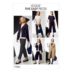 Buy Vogue Women's Drop Shoulder Jacket Top and Pull-On Trouser Outfit Sewing Pattern, 9246 Online at johnlewis.com