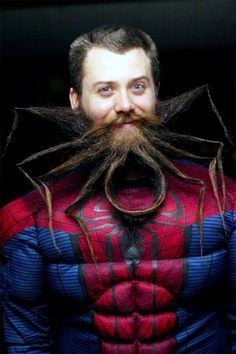 weird beard - This incredibly detailed weird beard imitates the iconic Spiderman logo. Instead of catching crooks like Spiderman normally does, this beard will c. Beards And Mustaches, Moustaches, Bad Hair, Hair Day, Crazy Beard, Barba Grande, Beard Shapes, Darwin Awards, Beard Humor