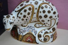"""Royal Crown Derby Paperweight """"Snow Leopard"""" 1st Quality Box Free Postage 