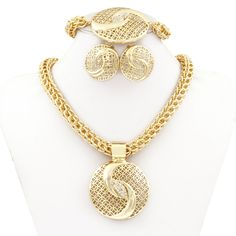 Chinese Tai Chi jewelry Dubai Gold Plated Big Necklace Jewelry Sets Fashion Nigerian Wedding African crystal Costume Jewelry