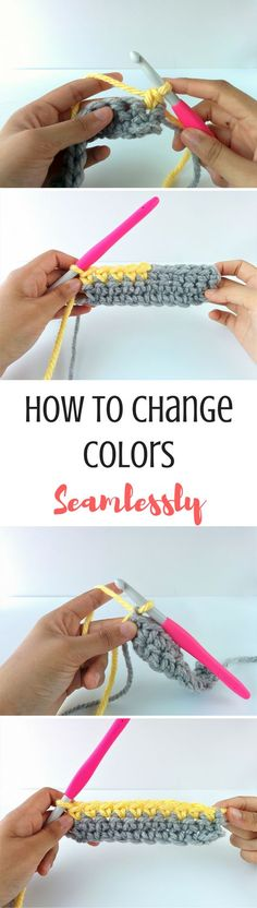 The easiest way to change colors in crochet! Learn how to add a new color at the start of a row or in the middle!