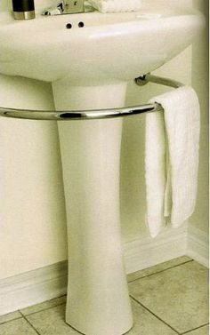 Hardware That Saves Space With Style: The Pedestal Sink Towel Bar  ... see more at InventorSpot.com