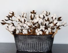 Cotton Boll Centerpiece Farmhouse Decor Rustic Decor