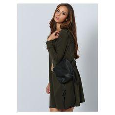 Dark Green Long Sleeve Designer Casual Dress (26 BAM) via Polyvore featuring dresses, dark green dress, long sleeve dresses, longsleeve dress and dark green long sleeve dress