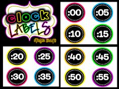 Classroom Freebies: Neon Clock Labels