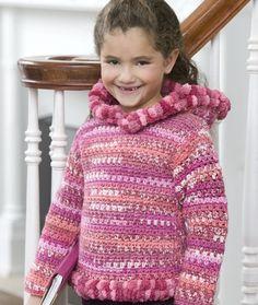 Crochet Girlie Hoodie pattern from Red Heart All Free Crochet, Crochet Girls, Crochet For Kids, Crochet Toddler, Crochet Hoodie, Knit Crochet, Crochet Hats, Irish Crochet, Crochet Sweaters