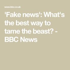 'Fake news': What's the best way to tame the beast? - BBC News