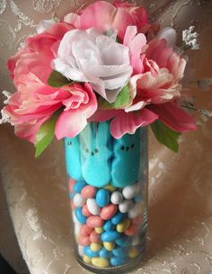 Easter Peeps Flower Centerpiece Rustic by thelittlegreymouse,