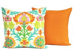 Two indoor/outdoor Santa Maria print pillow covers, DIFFERENT SIZES AVAILABLE, decorative throw pillow, Orange pillow, Outdoor pillow by ThatDutchGirlHome on Etsy