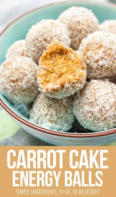 These Carrot Cake Energy Balls are sweet, soft, and amazing. Loaded with beautiful FRESH carrots and GINGER. So good!   These little treats are easily made with just a few pantry ingredients.    They have ZERO added-sugars! It's a delicious healthy snack you and your family gonna love! -------- #carrot #carrotcake #energyballs #proteinballs #vegan #glutenfree #snack #nobake #workoutsnack #lunchboxsnack #healthy