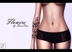 (TS4) Female tattoo - Flowers  DOWNLOAD     Thank...
