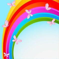 Rainbow sky with butterfly Wall Mural Rainbow Sky, Rainbow Butterfly, Butterfly Wall, Scenery Background, Plant Background, Borders For Paper, Print Pictures, Colorful Decor, Graphic Illustration