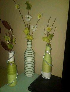 my yarn wrapped wine/beer bottles. ...pinterest inspired!