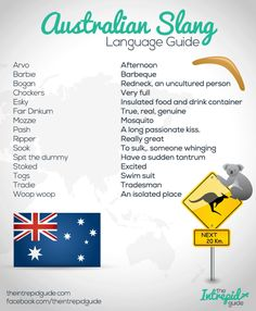 Australian Slang Language Guide. Click for more phrases and history.   RePinned by : www.powercouplelife.com