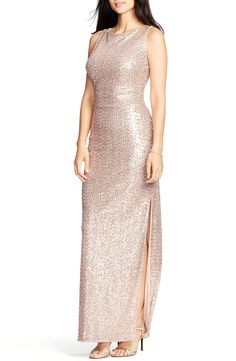 Rose-gold sequins shimmer across a sleek, versatile gown that finishes in a flirty cutout back—all the better for dramatic exits.
