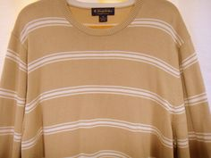 Brooks Brothers Mens 100% Pima Cotton Pullover Striped Sweater Tan & White Sz XL #BrooksBrothers #Crewneck #fashion #style #designer #gifts