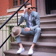 It's summertime! Dress down your lightweight suit with simple sneakers.