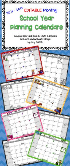These fun, EDITABLE 2014-2015 horizontal monthly calendars feature the adorable clip art from the talented Krista Wallden with Creative Clips.  Includes Color and Black  White calendars with and without holidays.$