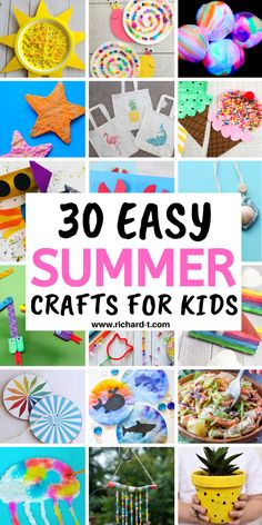 30 Best and easy summer crafts for kids! These summer crafts for kids are really amazing and creative! Summer Crafts For Kids, Summer Diy, Kids Crafts, Popsicle Stick Boat, Snake Crafts, Rocket Craft, Crab Crafts, Mason Jar Projects, Diy Wind Chimes