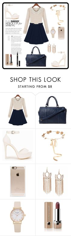 """""""Cream with blue"""" by maya-catalin ❤ liked on Polyvore featuring Deux Lux, Nly Shoes, Eugenia Kim, Incase, Marc Jacobs and Yves Saint Laurent"""