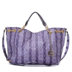 79a0c0a518 Michael Kors Chain Large Purple Totes Outlet x 10 x 5 -Purple  python-embossed patent leather -Gold tone hardware -Top handles with  link-chain detail ...