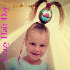 Today was Crazy Hair Day at little Miss Gigglebrry& school. Most schools and preschools hold a day like this yearly and most kids come with. Crazy Hair For Kids, Crazy Hair Day At School, Crazy Hair Days, School Fun, School Ideas, Mr Potato Head, Potato Heads, Latest Hairstyles, Cute Hairstyles