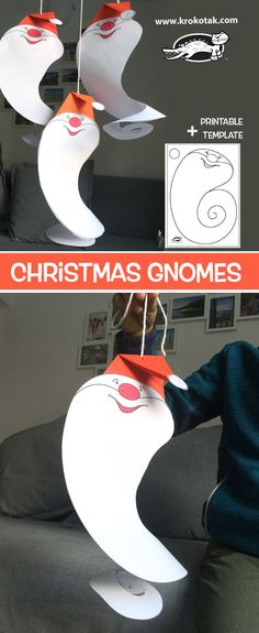 Christmas Gnomes (krokotak) Christmas Gnomes: use template for ghosts Paper Christmas Ornaments, Christmas Crafts, Christmas Decorations, Christmas Activities, Activities For Kids, Crafts For Kids, Christmas Makes, Christmas Gnome, Christmas Templates