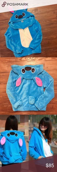 Rare Lilo & Stitch Stitch Hoodie Super soft and fluffy stitch zip up hoodie with stitch face as hood. There is a cute tail in the bag. Very VERY soft. In excellent condition because only worn 1-2 times. Very hard to find. Small but could probably fit medium too. Not actually Disney, not sure of brand. Disney Tops Sweatshirts & Hoodies