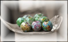 Decoupaged Map Wood Beads for Crafts and Jewelry Making