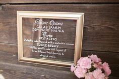 Custom painted Dessert Menu on gold framed glass