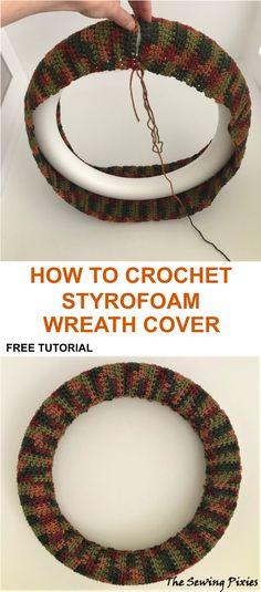 Crochet Christmas Wreath, Crochet Wreath, Crochet Fall, Christmas Crochet Patterns, Holiday Crochet, Easy Crochet Patterns, Diy Crochet, Crochet Stitches, Christmas Wreaths