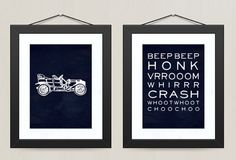 Vintage Car Transportation Print Beep Vroom Boys Nursery Wall Art Decor, 8 x 10