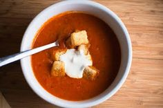 Healthy Tomato & Roasted Red Bell Pepper Soup