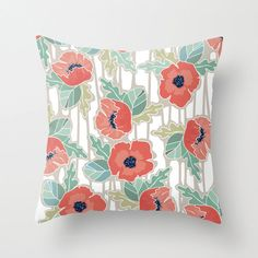 All Over Poppies POPULAR FABRIC Throw Pillow Cover Case 16X16 or 18x18 Or 20x20 Hidden Zipper