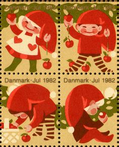 Denmark 1982....cute Danish Christmas, Scandinavian Christmas, Christmas Music, Christmas Time, Christmas Tables, Modern Christmas, Rare Stamps, Postage Stamp Art, Vintage Artwork
