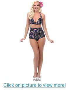 Cutest Flora Print Vintage High Waisted Bikini Sets Swimsuits