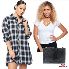 Outfit of the Day Plaid oversize shiarts, White tops, Alligater Featured Clutches