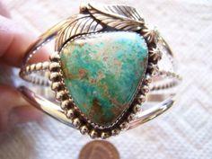 NATURAL-Pilot-Mountain-Turquoise-Sterling-Silver-Bracelet-Handmade-b7