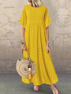 Polka dot print dress I found this amazing Polka Dot Print Short Sleeve Plus Size Maxi Dress with Pockets with 14 days return or refund guarantee protect to us N. Polka Dot Maxi Dresses, Plus Size Maxi Dresses, Dot Dress, Smocked Dresses, Comfy Dresses, Casual Dresses, Summer Dresses, Elegant Dresses, Sexy Dresses