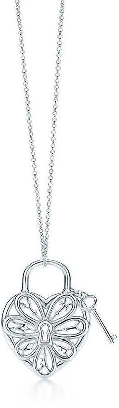 Tiffany Filigree Heart pendant with key