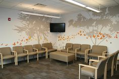 Tree silhouette make atmosphere of medical office waiting room better. #medicalofficefurniture