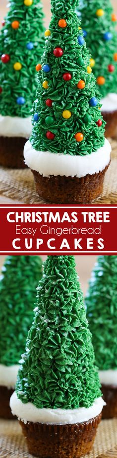 EASY Christmas Tree Cupcakes - Swanky Recipes - Gingerbread cake with snowy frosting and a green spruce tree.  Easy to make! #christmas #dessert #gingerbread