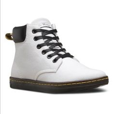 Dr Doc Martens White Canvas Maelly Hi Top Boot