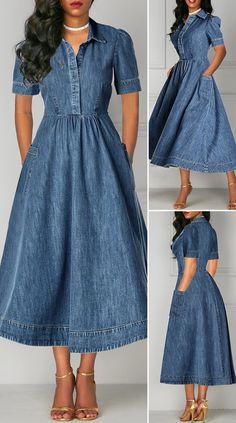 Short Sleeve Pocket Denim High Waist Dress - Kleider - The Fashion Elegant Dresses For Women, Simple Dresses, Pretty Dresses, Beautiful Dresses, Casual Dresses, Event Dresses, Long Dresses, Formal Dresses, Sexy Dresses
