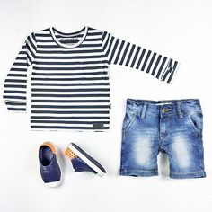Mini outfits  with our #munsterkids long sleeve pocket tee, (with thumb-holes at cuffs) #idigdenim shorts and #native kids shoes. Unisex. Shop this look :  www.hipkin.com.au  #hipkinkids #hipkin #stripes #kidsfashion #ministyle #kidsdenim #simple #quality #kidsclothing