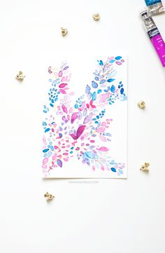 DIY: abstract leaf watercolor pattern